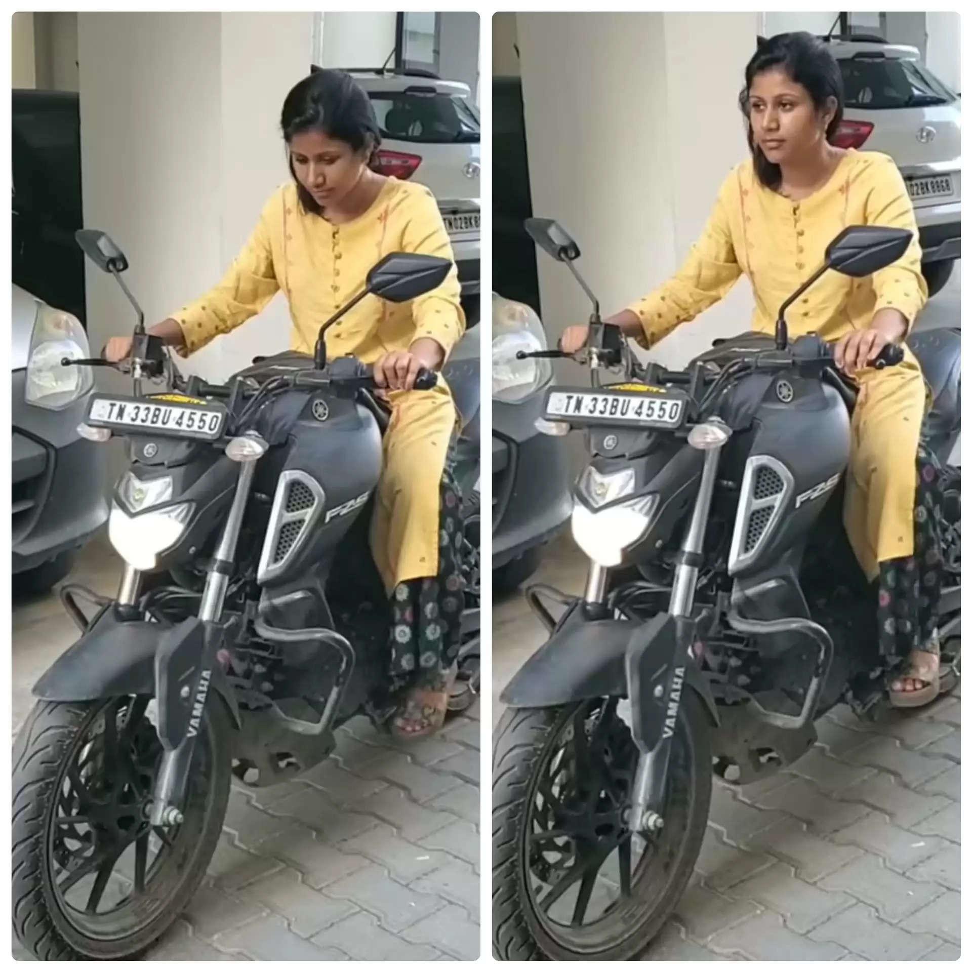 மாஸாக ரேஸ் பைக் ஓட்டும் பிரபல சீரியல் நடிகை.. வைரலாகும் வீடியோ !